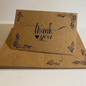 15 Kraft Paper Thank You Cards with Envelopes